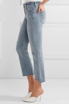 Mother - The Insider Crop Distressed High-rise Flared Jeans - Blue - 26