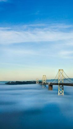 Oakland Bay Bridge and Treasure Island above the fog, San Francisco    I want to go to the bay area!! I miss being able to go for just the weekend