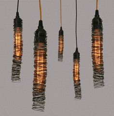 Pendant Light - Scribble Series, would be fun to make with multiple size wires. old bed springs, fine wire etc. Wire Pendant Light, Pendant Lighting, Wire Lighting, Dining Pendant, Pendant Lamps, Cool Lighting, Lighting Design, Luminaria Diy, Estilo Interior