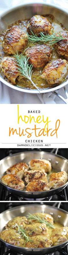Baked Honey Mustard Chicken - The creamiest honey mustard chicken ever! It's so good, you'll want to eat the honey mustard itself with a spoon! The newest method in Absolutely safe and easy! Paleo Recipes, Great Recipes, Dinner Recipes, Cooking Recipes, Paleo Meals, Budget Recipes, Creamy Honey Mustard Chicken, Honey Chicken, Baked Chicken