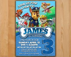 Paw Patrol Invitation - Chase Paw Patrol Party Invite - Paw Patrol Birthday Invite - Chase Rubble Marshall Ryder Rocky Printable invite by LTAPrints on Etsy https://www.etsy.com/listing/476112631/paw-patrol-invitation-chase-paw-patrol