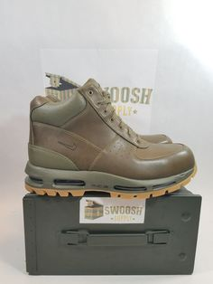 Nike Air Max Goadome Medium Olive/Medium Olive 865031-209 #Nike #BOOT Nike Boots, Timberland Boots, Men's Footwear, Kinds Of Shoes, Mens Fashion Shoes, Sneaker Boots, Nike Air Vapormax, Waterproof Boots, Nike Sportswear
