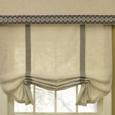 Robert Allen Bandings used to finish this window treatment, love this style and the nice added valance.
