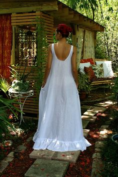 100% Cotton Nightgown Cottage Chic Ruffle White by SarafinaDreams