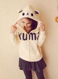 $11.47 Sweet Hooded  rilakuma embellished Letter Print Long Sleeve Solid Color Thicken Hoodie For Women (WHITE OR PINK)