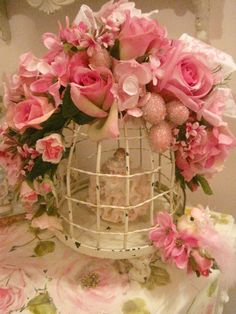 """Petite Rose Bird Cage"" by mylulabelles on Flickr - This is a photo of a smaller version of the bigger rose birdcage available on the photographer's web site - www.mylulabelles.com."