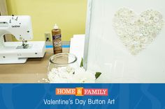 Valentine's Day Button Art -  Combine cute & classy w/ this adorable button art! Use old buttons, glue & art paper to make Valentine's Day Decor! DIY by @kennethwingard on Home and Family!