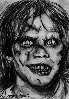 "ACEO CLASSIC HORROR: THE EXORCIST ""Regan"" Original Sketch Card by MIRACLE"