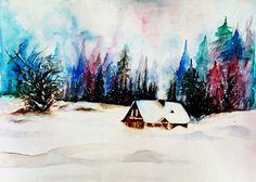 Frozen winter watercolor landscape