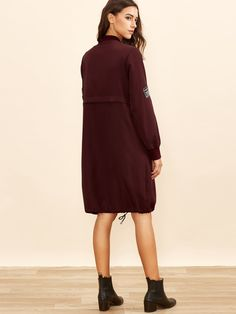 Burgundy Zip Up Bomber Coat With Embroidered Patch Detail Bomber Coat, Embroidered Patch, Zip Ups, Patches, Burgundy, High Neck Dress, Detail, Dresses, Fashion