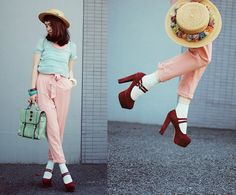 Romwe Necklace, Romwe Blouse, Sheinside Pants, Sheinside Shoes, Chioes Bag, Stroets Socks. LOVE HER HAT