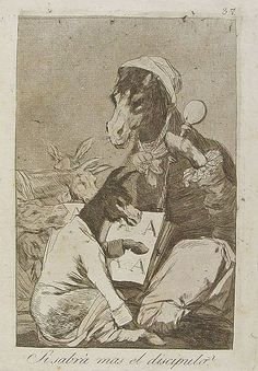 """""""¿Si sabrá más el discípulo?"""" Capricho nº 37. """"No se sabe si sabrá más o menos, lo cierto es que el maestro  es el personaje más grave que se ha podido encontrar."""" (Francisco de Goya)"""