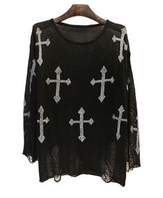 Cross Print Ripped Knitted Pullovers in Black