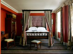 Four Poster Bed, Deluxe, Bedroom inspiration, Red bedroom