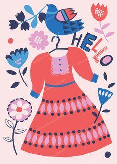 dress bird floral hello design illustration print greetings card victoriajohnsondesign.com