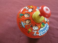 Vintage Snoopy & the Gang Ohio Art Spinning Top Metal Peanuts Charlie Brown