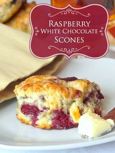 These raspberry white chocolate scones are a big fan favourite on Rock Recipes and have become a must have weekend brunch item for many. Just Desserts, Delicious Desserts, Yummy Food, Mexican Desserts, Party Desserts, Rock Recipes, Sweet Recipes, White Chocolate Raspberry Scones, Cherry Scones