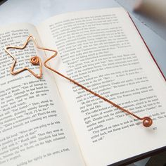 fairy wand copper bookmark in salvaged copper hand formed hand hammered faerie wand. $16.00, via Etsy.