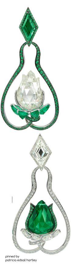 Boghossian High Jewellery emerald and diamond lotus flower earrings Emerald Earrings, Emerald Jewelry, Flower Earrings, Diamond Jewelry, Gemstone Jewelry, I Love Jewelry, High Jewelry, Jewelry Box, Jewelery