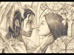 """Beren and Lúthien by Larissa Diaz.  """"Farewell sweet earth and northern sky,  for ever blest, since here did lie  and here with lissom limbs did run  beneath the Moon, beneath the Sun,  Lúthien Tinúviel  more fair than Mortal tongue can tell.  Though all to ruin fell the world  and were dissolved and backward hurled;  unmade into the old abyss,  yet were its making good, for this―  the dusk, the dawn, the earth, the sea―  that Lúthien for a time should be."""""""