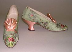 Early 1900s Silk and Leather Evening Slippers by  I. Miller,  American.