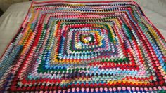 """All the colours of the rainbow crochet throw. Hand made afghan. Measures 39.5""""x44""""(100x112cms). OOAK hand made multicoloured cover. by Nobodyknitsitbetter on Etsy"""