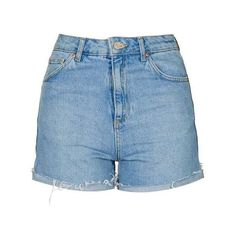 Topshop Moto Bleach Girlfriend Short ($19) ❤ liked on Polyvore featuring shorts, cotton shorts, topshop shorts, button fly shorts, high-rise shorts and high rise shorts