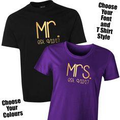 d758da7da Mr & Mrs Established T Shirt Set for the Bride & Groom The Mr