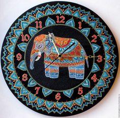 """Часы для дома ручной работы. Ярмарка Мастеров - ручная работа. Купить Часы """"Индийский слон"""" настенные интерьерные. Handmade. Оранжевый"""