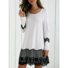 57639483d8640 Long Sleeve Lace Splicing Comfy Dress - White And Black Xl Mobile Long  Sleeve Dresses