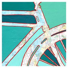 Bike San Francisco Nr. 1 - mit San Francisco, Oakland, Walnut Creek archival Fahrrad Kunstdruck