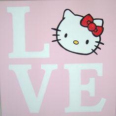 Love Hello Kitty Canvas Wall Art Painting Handpainted 12x12. $15.00, via Etsy.