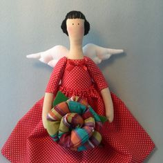 Tilda Doll in the Red Dress Textile handmade doll Angel Doll tilde flowers - pinned by pin4etsy.com
