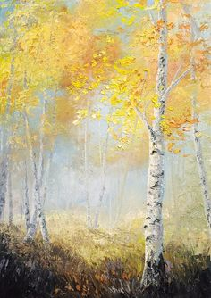 Have you ever struggled with color mixing? Learn how to effectively mix your paint with just the palette knife and create a stunning birch tree landscape! For more information about full length lessons, visit our website! Landscape Drawings, Cool Landscapes, Watercolor Landscape, Landscape Art, Beautiful Landscapes, Landscape Paintings, Forest Painting, Wood Painting Art, Painting Abstract