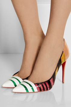 Christian Louboutin | Bandy 100 striped leather and PVC pumps | NET-A-PORTER.COM