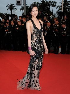 Liu Wen in Roberto Cavalli at 2012 Cannes Film Festival