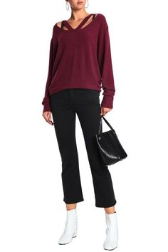 d1f6e82a647b11 Double Fallon cutout stretch-Tencel sweater