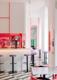 Lisbon's Lulu bar Lulu's Restaurant, Restaurant Design, Lisbon Bars, Dj Table, Banquette Dining, Pink Bar, Shaped Windows, Natural Stone Flooring, Window Types