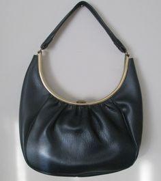 Vintage Navy Blue Handbag Curve Shape Top Handle by MrsDinkerson