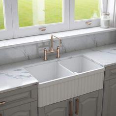 Crestwood 33 Fireclay Farmhouse Sink 50 50 Double Bowl White Cw Cl 332 Dbl White Fireclay Farmhouse Sink Farmhouse Sink Sink