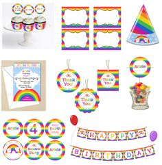 Rainbow Party Package - {DIY Printables}    TheDigiButterfly.com  TheDigiButterflyPRTY.etsy.com