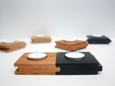 modular tea light holders from James Tattersall - could even make these out of painted hardwood flooring pieces! Small Wood Projects, Scrap Wood Projects, Woodworking Projects Diy, Candle Holder Decor, Wooden Candle Holders, Candlestick Holders, Tea Light Candles, Tea Lights, Bougie Candle
