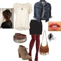 """""""Burgundy tights and denim jacket"""" by nchavez113 on Polyvore"""