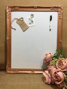 ROSE GOLD Ornate Framed Notice Board Metallic Frame Message Pink Gold Office, Pink And Gold, Rose Gold, Message Board, Decor Crafts, Bulletin Boards, Metallic, Copper, Room Decor