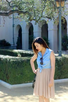 Pleated Dress, crop top with polka dot print, and Dolce Vita Sandals. Pasadena, CA