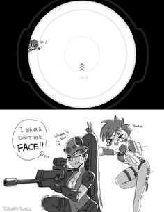 Bothering Widowmaker http://tcbunny.tumblr.com/post/145873607199/tracer-is-so-adorable-but-annoying-sometimes-lol