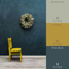 Pure & Original online store for the USA. Find information and get inspired by our specialty paints. Chalk based paint, lime paint, and plaster paint. Blue Paint Colors, Wall Paint Colors, Paint Colors For Home, House Colors, Yellow Accent Walls, Yellow Accents, Blue Walls, Paint Color Palettes, Colour Pallette