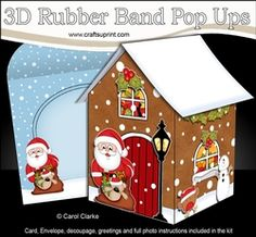 3D Rubber Band Pop Up Christmas Card - Christmas Gingerbread House Santa Has Lots Of Presents In His Sack