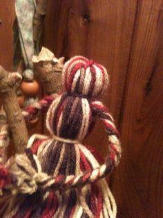 burgundy red, tan and brown lady yarn doll. $7.00, via Etsy.