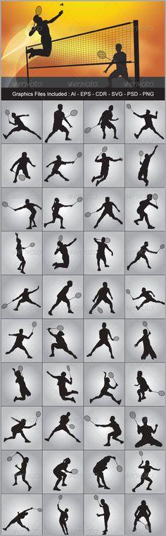 Badminton Silhouettes - Sports/Activity Conceptual #Badminton